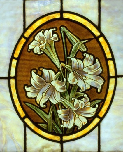 Stained glass window of Easter Lilies : Stock Photo