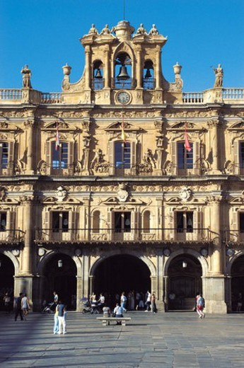 Spain, Castilla Leon, Salamanca, Arch, Arches, Square, Main square : Stock Photo