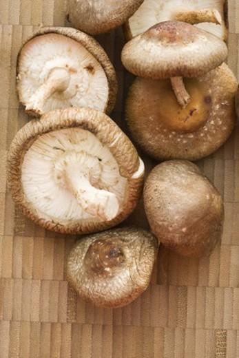 Pile of shiitake mushrooms on bamboo mat. : Stock Photo