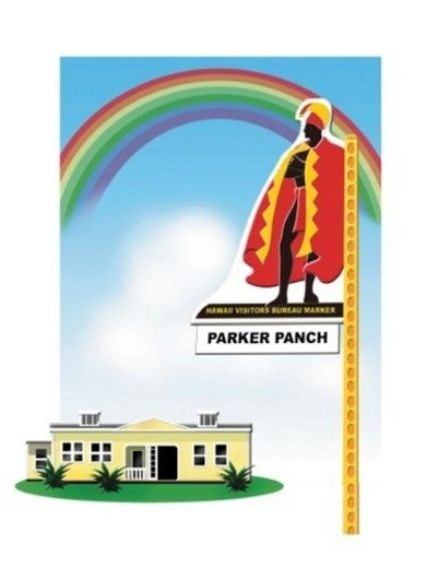 Signboard of Parker Panch, Hawaii, Painting, Illustration : Stock Photo