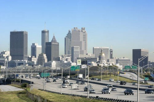 Stock Photo: 4029R-23768 Traffic on Multi-Lane Freeway