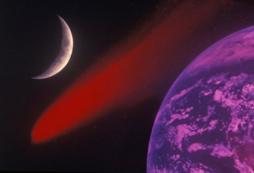 Stock Photo: 4029R-237758 Space special effects composite with Earth, comet and crescent moon