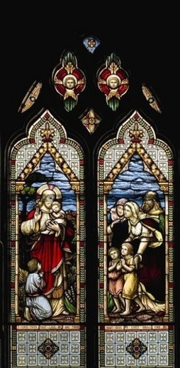 Stained glass windows, Waterloo, Québec, Canada : Stock Photo