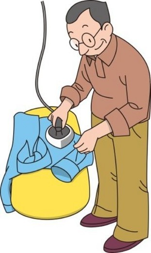 Man Who Does the Ironing, Illustrative Technique : Stock Photo
