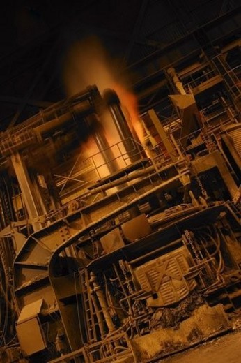 A molten steel factory : Stock Photo