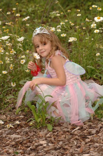 Stock Photo: 4029R-23840 Young girl in fairy costume picking wildflowers