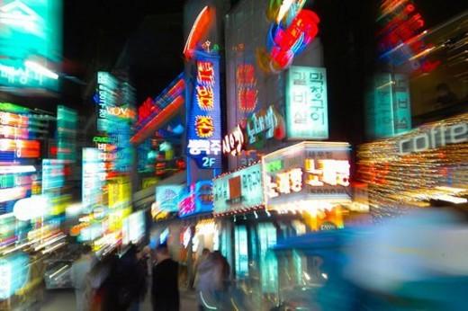 Stock Photo: 4029R-239085 city scenery, light, landscape, scenery, city, night
