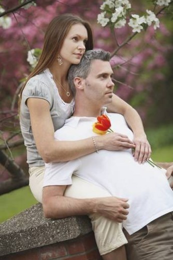 edmonton, alberta, canada; a man and woman together in a park : Stock Photo