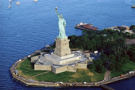 Stock Photo: 4029R-239950 Aerial view of the Statue of Liberty