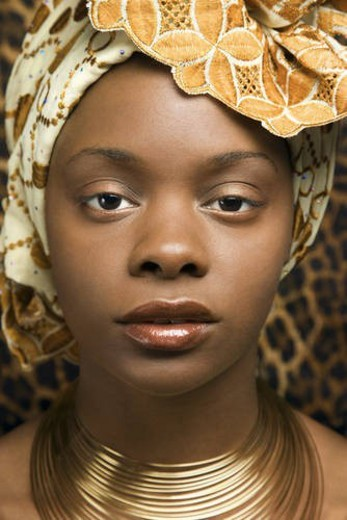 Close-up of Young African American Woman in Traditional African Dress : Stock Photo