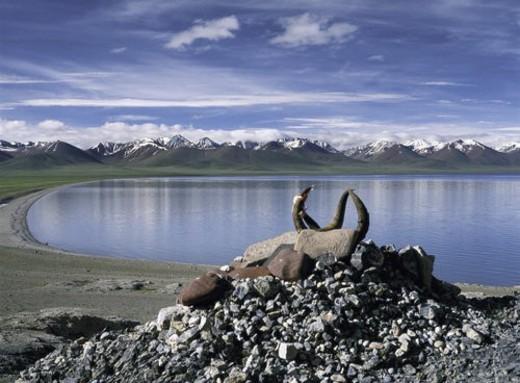Marnyi Stones, Namucuo Lake, Tibet : Stock Photo