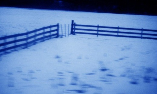 Empty corral in winter : Stock Photo