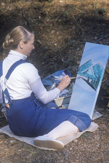 Stock Photo: 4029R-242199 An art student painting
