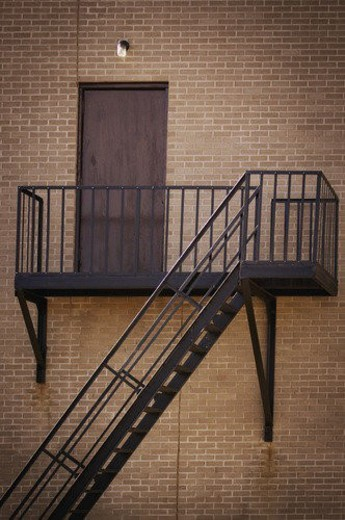 Stock Photo: 4029R-242720 Fire escape at the back of a building