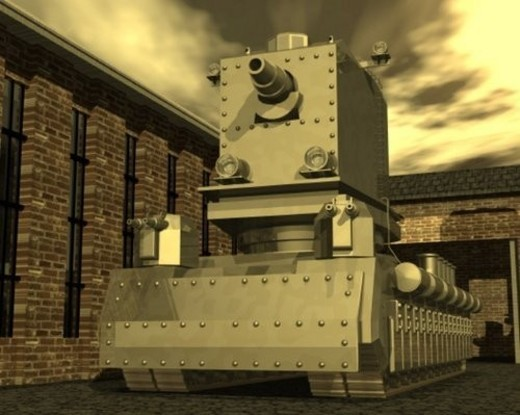 Tank, Illustration, CG, 3D, Sepia, Low Angle View : Stock Photo