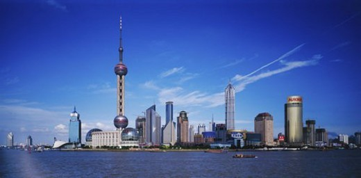 Scene of Lujiazhui in The Bund, Shanghai : Stock Photo