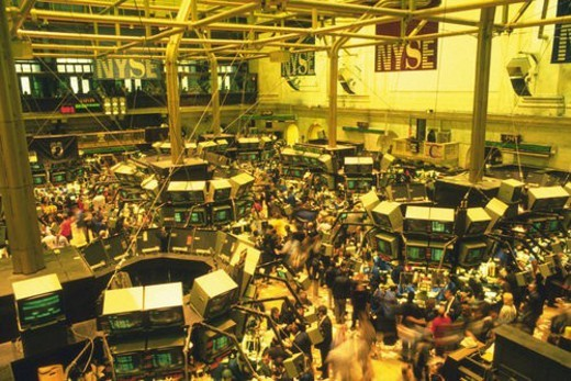 Stock Photo: 4029R-243936 Scene in the stock exchange, High Angle View, New York, United States of America