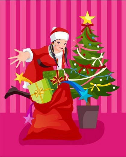 Stock Photo: 4029R-244995 costume, event, Santa Claus, santa, girl, imagediary
