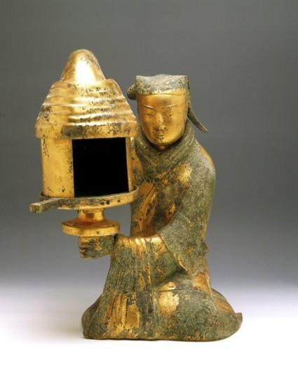 Gilt Bronze Human-Shaped Lamp : Stock Photo