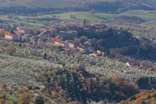 Umbrian landscape in winter, aerial view of village, valley and olive trees : Stock Photo
