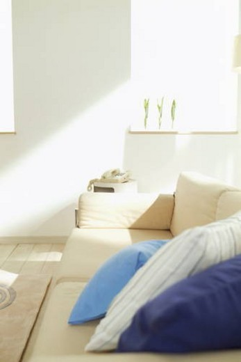 Living room with a sofa and blue cushions : Stock Photo