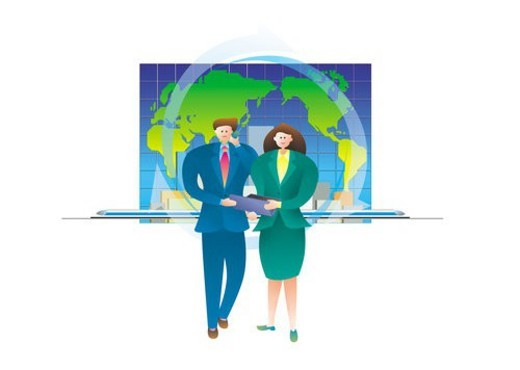 Stock Photo: 4029R-248584 Businesspeople And Map