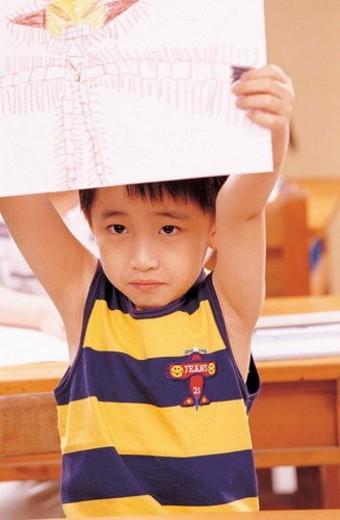 Stock Photo: 4029R-249687 art, art work, art class, 5-6 years