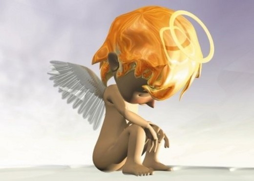 Stock Photo: 4029R-250223 Depressed Angel, CG, 3D, Illustration, Side View