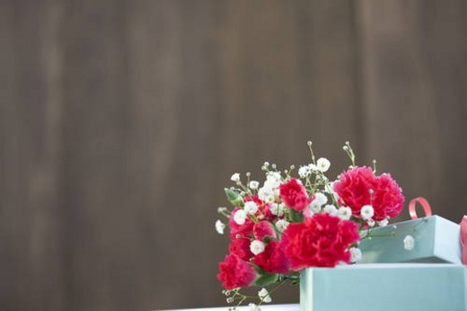 Carnations and a gift box : Stock Photo