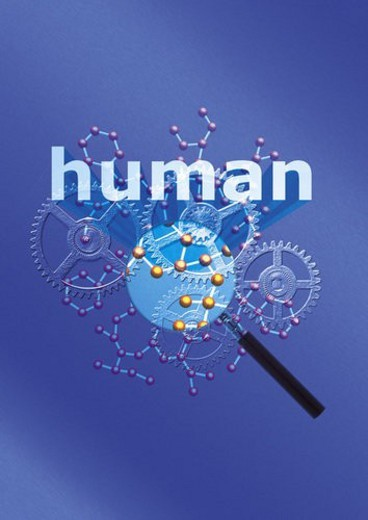 Gear wheels and magnifying glass with word of human, CG, composition : Stock Photo