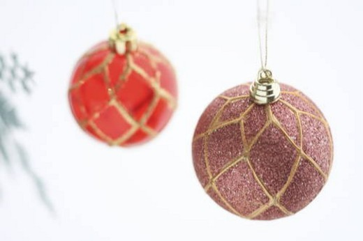 Christmas baubles, white background : Stock Photo