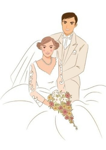 Groom standing aside of bride sitting on chair, bride holding wedding cascade bouquet, portrait : Stock Photo