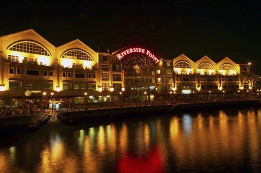 Riverside Point restaurants and cafes along Singapore River : Stock Photo