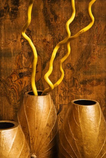 Interior vases with Asian scene in background. : Stock Photo