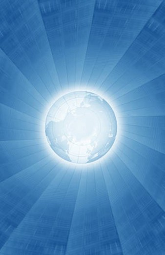 Rays of light emanating from globe : Stock Photo