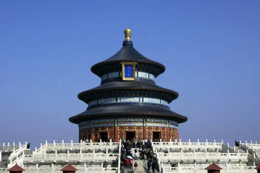 Stock Photo: 4029R-253455 Tourists in front of a pagoda, Temple Of Heaven, Beijing, China