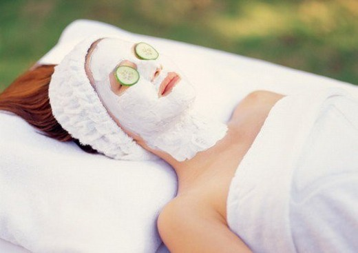 health spa, lying down, cheerful, spa, outdoor, face pack : Stock Photo