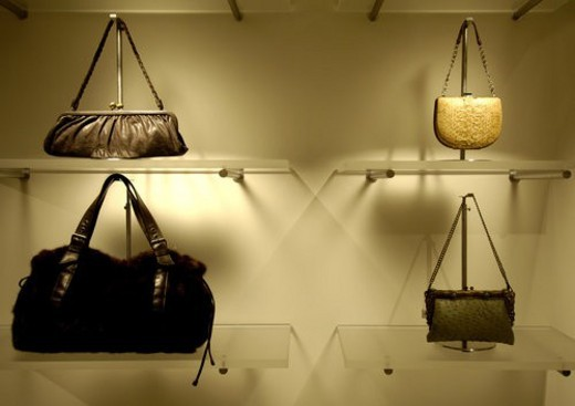 View of purses displayed in a shop. : Stock Photo