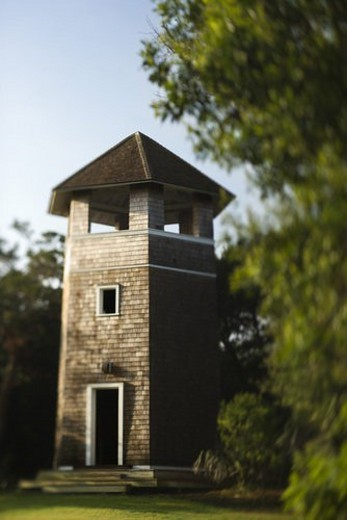 Brick tower standing in park. : Stock Photo