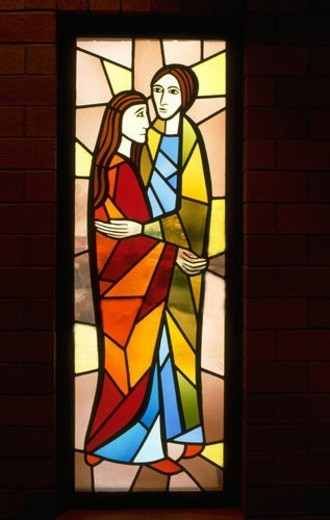 Mary and Joseph on stained glass window : Stock Photo