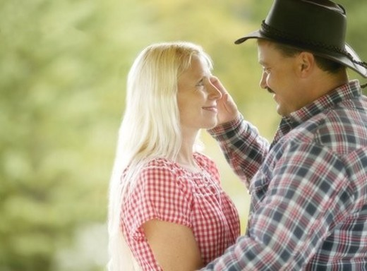 A couple looking at each other : Stock Photo