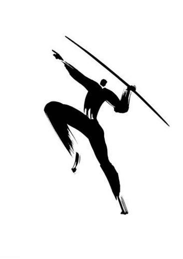 Stock Photo: 4029R-255834 Illustration of athlete preparing to throw javelin, white background