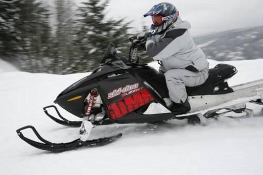Stock Photo: 4029R-258772 snowmobile adventure tour in Whistler British Columbia