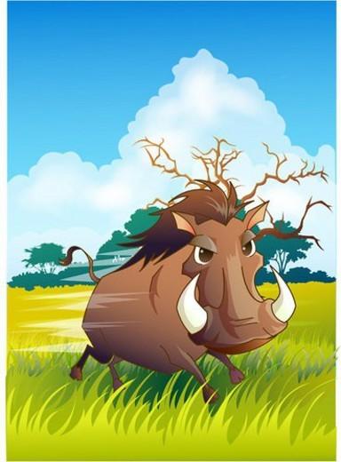 savanna, desertwarthog, safari, Africa, natural world, grassland, zoo : Stock Photo