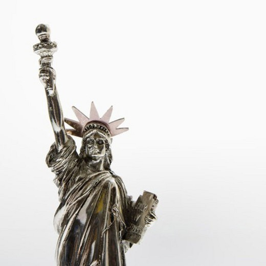 Stock Photo: 4029R-260116 Statue of Liberty reproduction on white background.