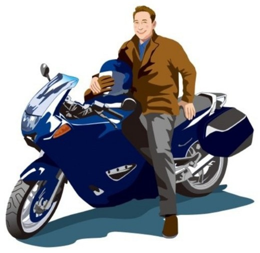Bike and Men, Illustrative, Technique : Stock Photo