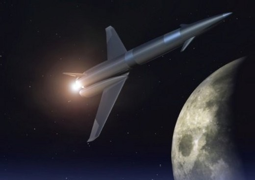 Imaginary space rocket, Illustration, CG, Low Angle View, Lens Flare : Stock Photo