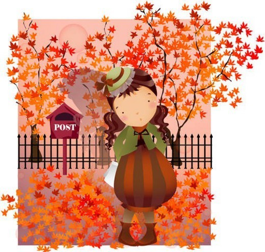 seasons, autumn, girl, child, person, fall, season : Stock Photo