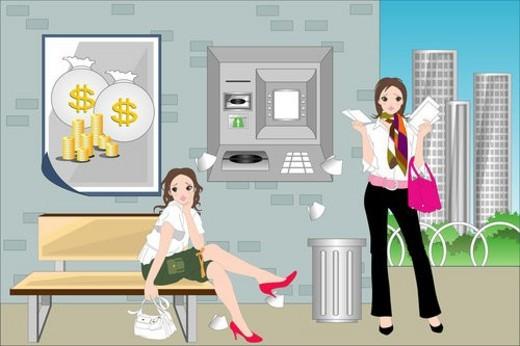 Women near an ATM. : Stock Photo