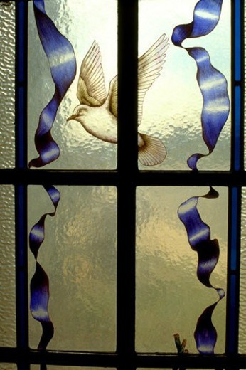 Dove in flight on stained glass window : Stock Photo